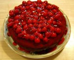 Cherry Chocolate Cake with a Honey Vanilla Pudding Filling