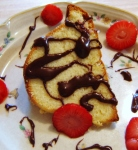 Cream Cheese Pound Cake with Strawberries and Chocolate Glaze