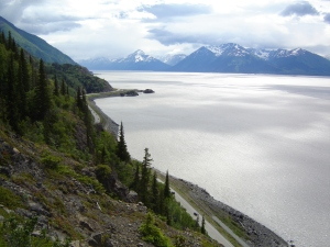 Seward Highway running south along Turnagain Arm