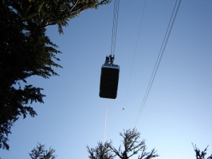 A tram goes overhead
