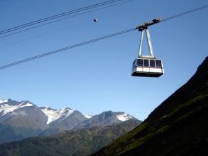 Tram heading down the mountain