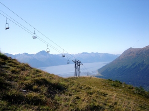 Ski lift and the inlet below