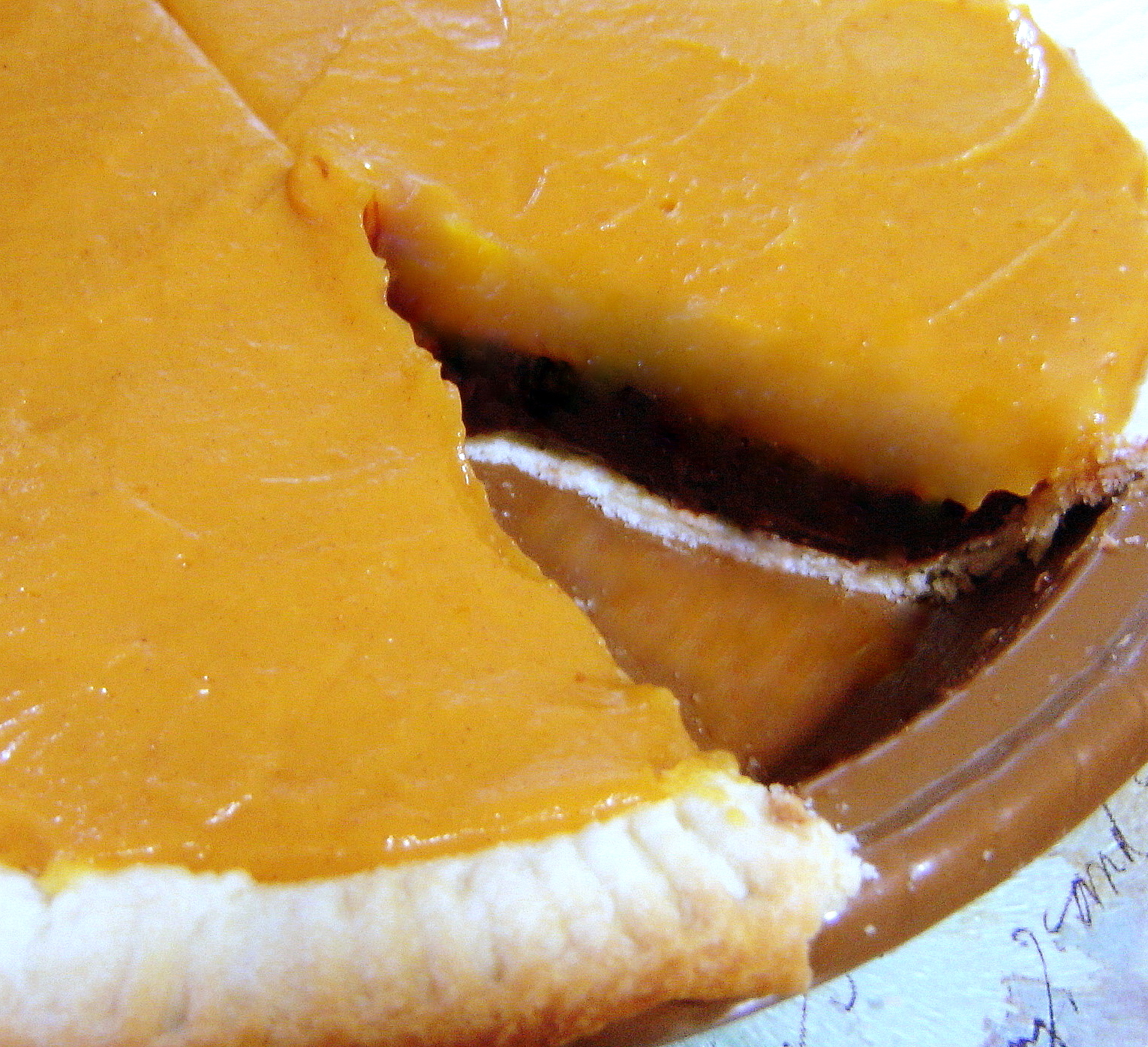 Easy Double Layer Pumpkin Chocolate Pie | At Home in Alaska