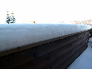 Snow accumulation on balcony railing